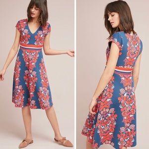 ETT:TWA Soirée Blue Motif Dress w/ Red Embroidery